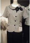 ◇可愛らしい丸衿とエレガントチェックのオーバーブラウス事務服